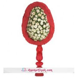 Beyaz Gerbera Kırmızı Ayaklı Tek Katlı Çelenk
