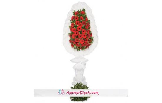 Tek Katlı Kırmızı Gerbera Çiçekleri Çelenk