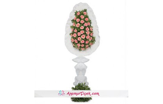 Tek Katlı Büyük Pembe Gerbera Çiçekleri Çelenk