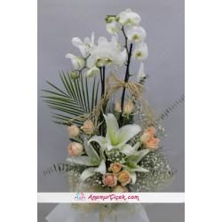 Beyaz Gül Lilyum Orkide