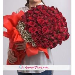 100 Kırmızı Gül Çiçek Demeti
